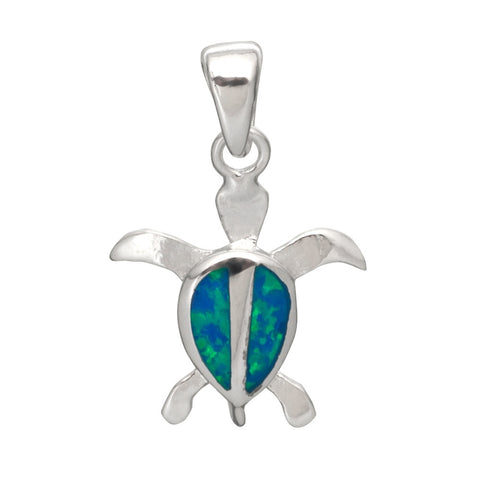 Baby Sea Turtle With Abalone Inlay Sterling Silver Pendant