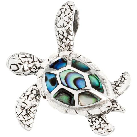 Sea Turtle Swimming Sideways With Abalone Sterling Silver Pendant