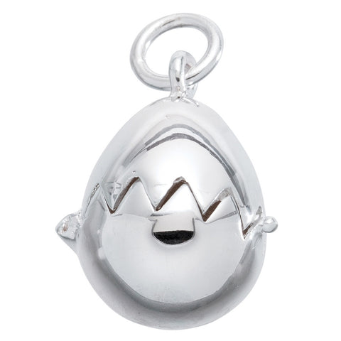 Duck Opening Egg Sterling Silver Pendant