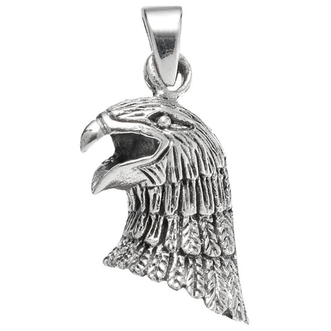 Eagle Head with Open Mouth Sterling Silver Pendant