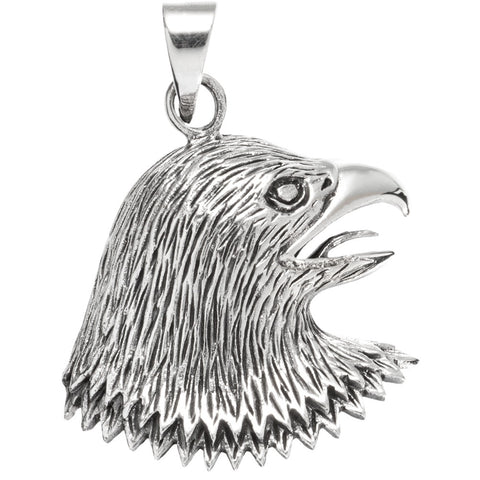 Eagle Head Facing Side Sterling Silver Pendant