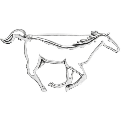 Horse Galloping Silhouette Sterling Silver Pin