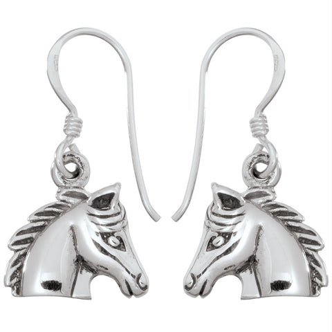 Horse Head Sterling Silver Earrings