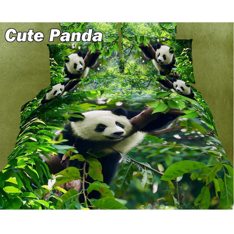 Cute Panda Queen Size Bedding Set