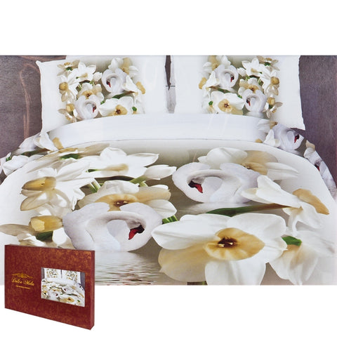 Swimming Swans Queen Size Bedding Set