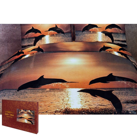 Dolphin Pacific Sunset King Size Bedding Set