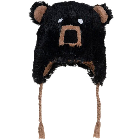 Black Bear Toddler Fuzzy Fleece Hat