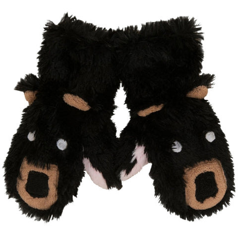 Black Bear Toddler Fuzzy Fleece Mittens