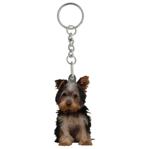 Buddy the Yorkshire Terrier Puppy Mirrored Acrylic Keychain