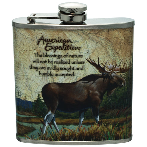 Bull Moose Steel Hip Flask