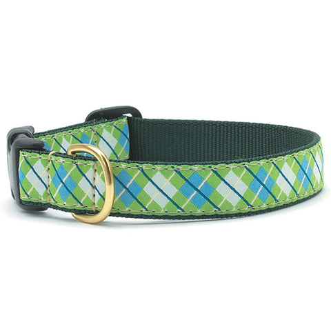 Blue & Green Argyle Dog Collar