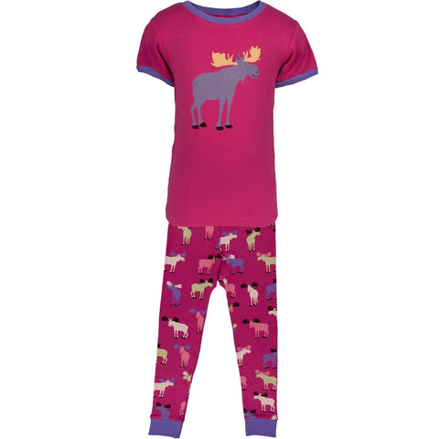Raspberry Moose All-Over Juvy Pajama Set