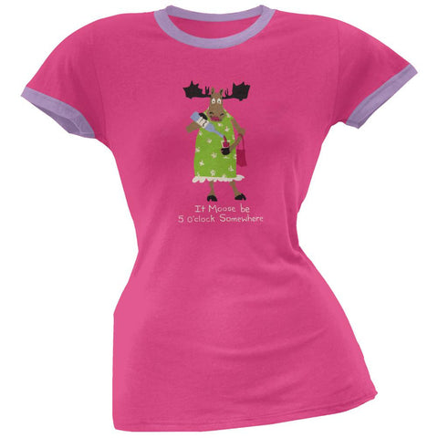 It Moose Be 5 O'Clock Women's Pajama Ringer T-Shirt