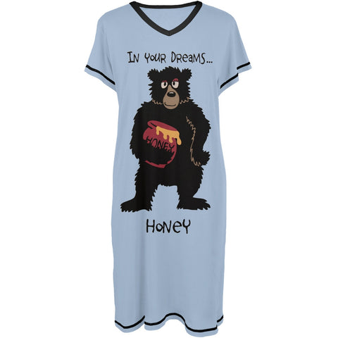 Bear in Your Dreams Honey Women's V-Neck Nightshirt