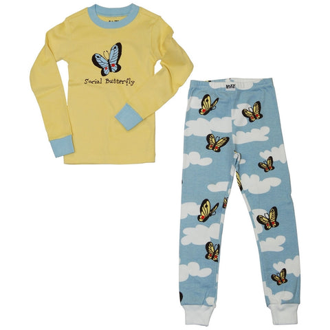 Social Butterfly Toddler Long Sleeve Pajama Set