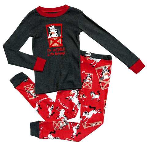 Horse Unstable in the Mornings Toddler Long Sleeve Pajama Set