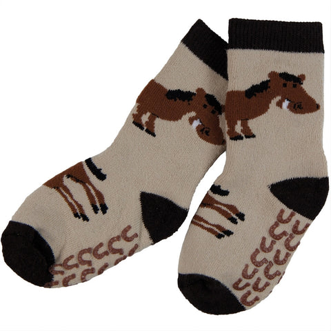 Horse & Shoes Infant Slipper Socks