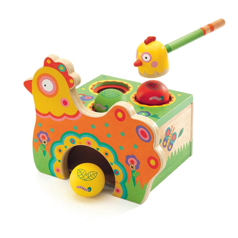 Wooden Kikou Cot Chicken Tapping Toy