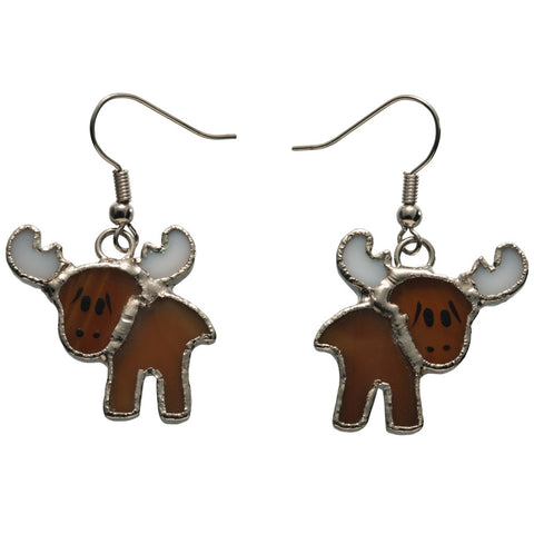 Stained Glass Moose Earrings