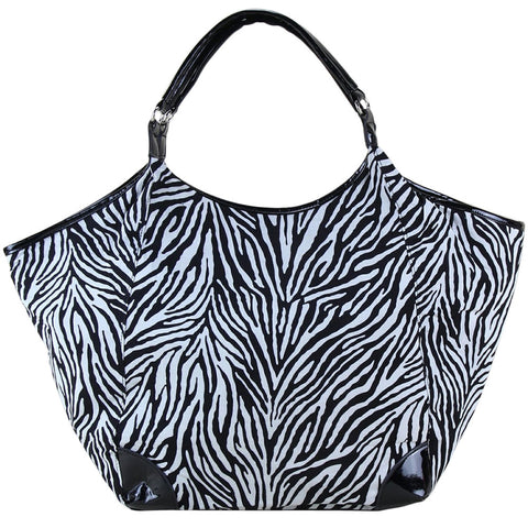 Zebra Print Fabric Classic Hobo Bag