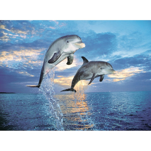 Dolphins Jumping 500 Piece Jigsaw Puzzle
