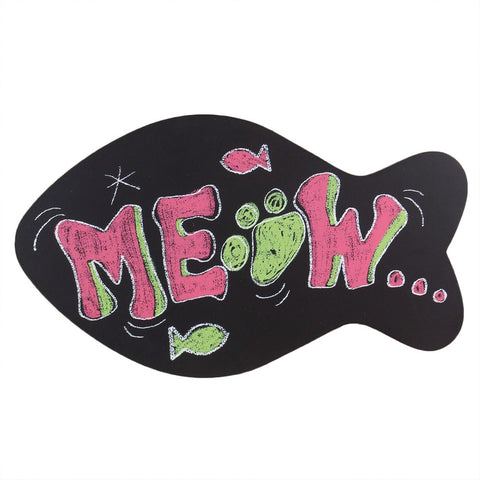 Meow Fish Shape Chalkboard Wall Plaque