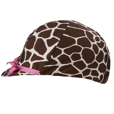 Equestrian Giraffe Print With Pink Ribbon Helmet Cover