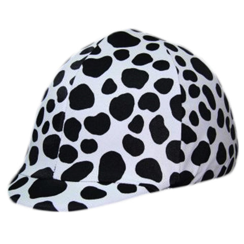 Equestrian Black and White Spotted Pony Helmet Cover