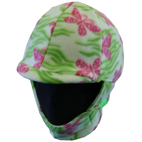Equestrian Pink and Green Butterfly Fleece Helmet Cover