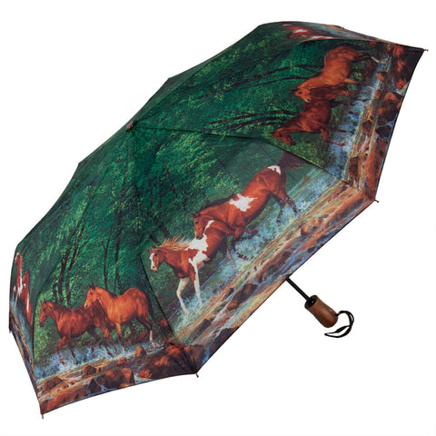 Horses Spring Creek Run Mini-Umbrella