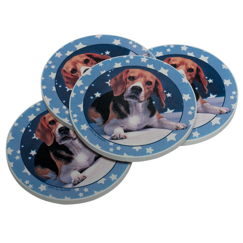 Beagle and Stars Coasters Set