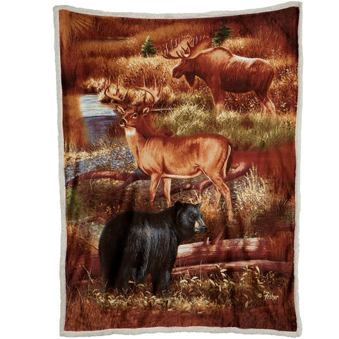 Forest Friends Sherpa Reversible Throw