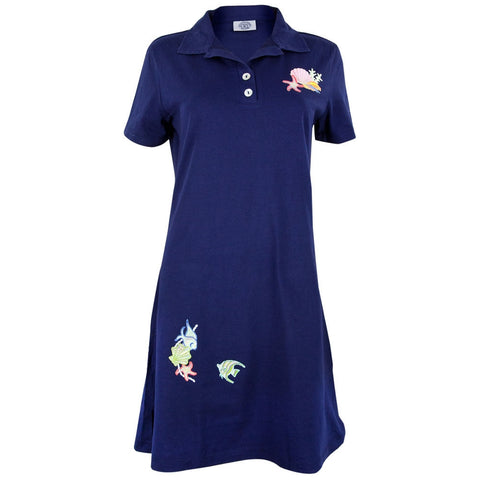 Sea Shell Navy Collared Womens Polo Dress