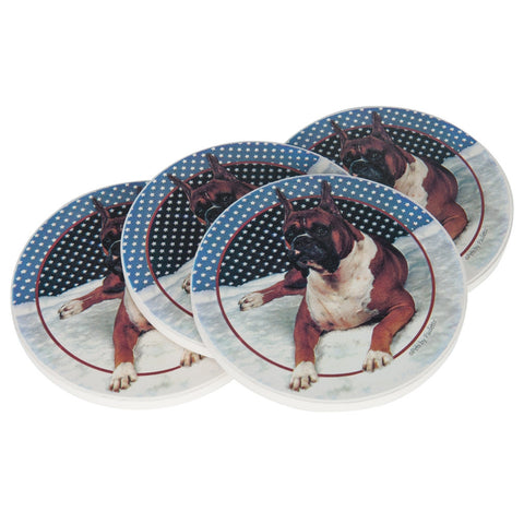 Boxer Sitting Coasters Set