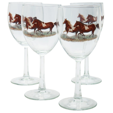 Horses Wine Glasses Set