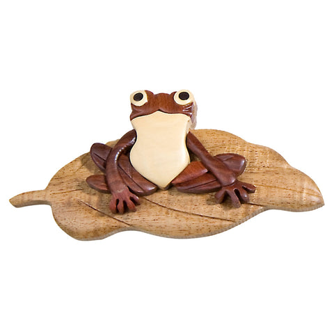 Frog on Lily Pad Wooden Magnet
