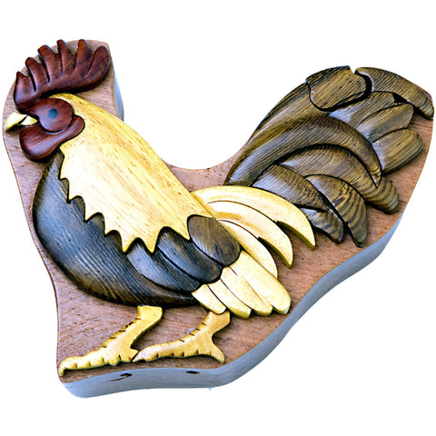Rooster Wooden Puzzle Box