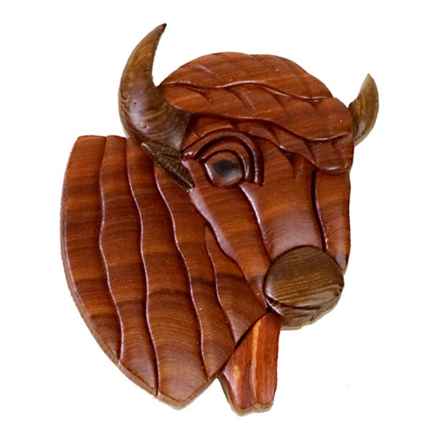 Bison Head Wooden Magnet