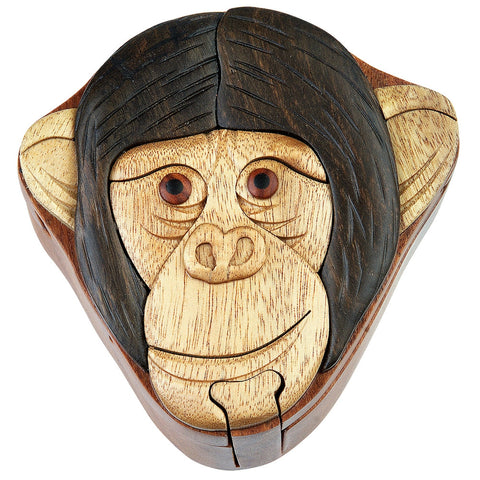 Monkey Face Wooden Puzzle Box