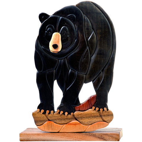 Handcrafted Wooden Black Bear Figure