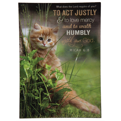Cat Climbing Tree Micah 6:8 Mini Wall Art