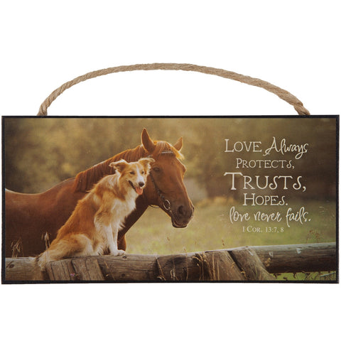 Love Always Protects... Horse with Dog Hanging Sign