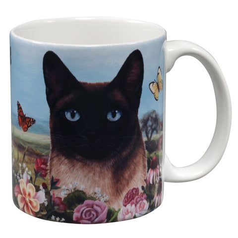Siamese Cat Garden Party Fun Mug