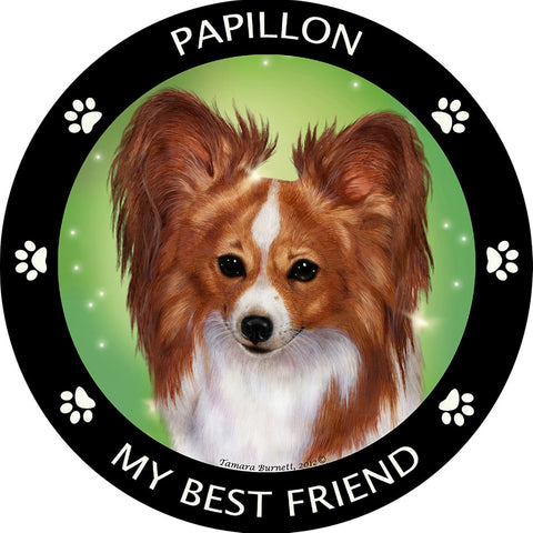 Papillon Red & White My Best Friend Magnet