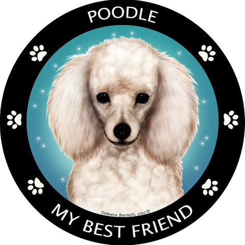 White Poodle My Best Friend Magnet