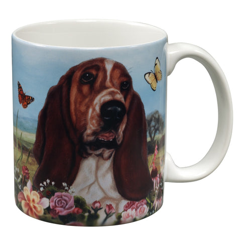 Basset Hound Garden Party Fun Mug