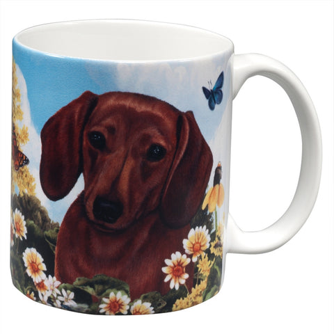 Red Dachshund Garden Party Fun Mug