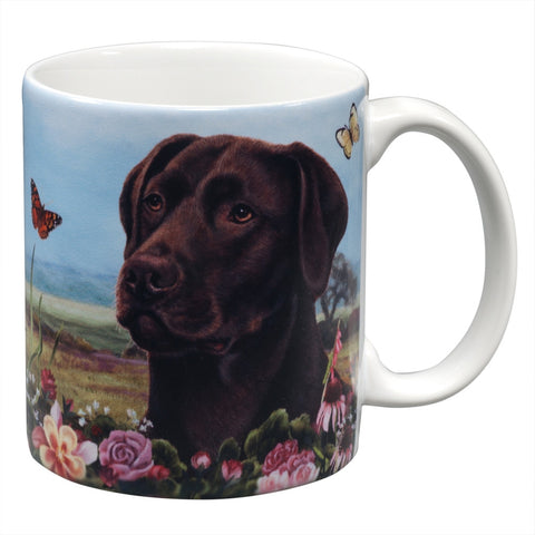 Chocolate Labrador Garden Party Fun Mug