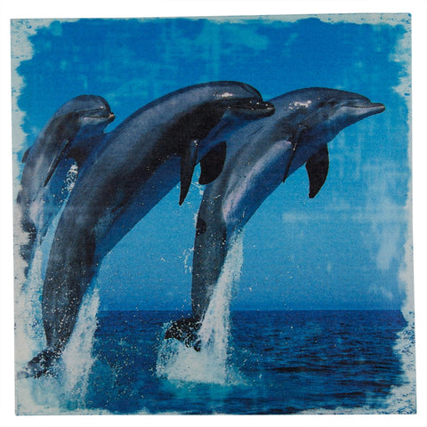 Dolphins Breaching On Stretched Canvas