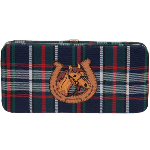 Horse In Shoe Plaid Clasp Wallet